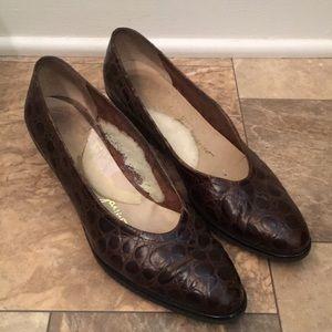 Salvatore Ferragamo Brown Leather Croc Dress Shoes